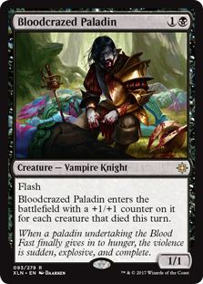 Bloodcrazed Paladin  FlashBloodcrazed Paladin enters the battlefield with a +1/+1 counter on it for each creature that died this turn.