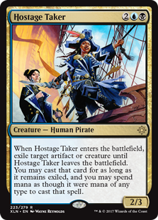 Hostage Taker  When Hostage Taker enters the battlefield, exile another target creature or artifact until Hostage Taker leaves the battlefield. You may cast that card for as long as it remains exiled, and you may spend mana as though it were mana of any type to cast tha
