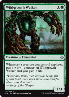 Wildgrowth Walker  Whenever a creature you control explores, put a +1/+1 counter on Wildgrowth Walker and you gain 3 life.
