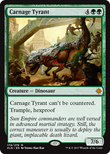 Carnage Tyrant  This spell can't be countered.Trample, hexproof
