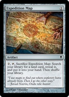 Expedition Map  , , Sacrifice Expedition Map: Search your library for a land card, reveal it, and put it into your hand. Then shuffle your library.