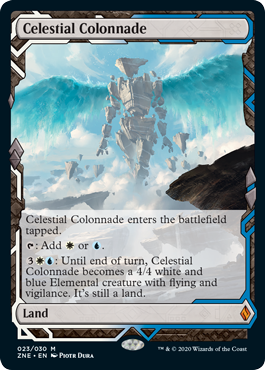 Celestial Colonnade  Celestial Colonnade enters the battlefield tapped.: Add  or .: Until end of turn, Celestial Colonnade becomes a 4/4 white and blue Elemental creature with flying and vigilance. It's still a land.